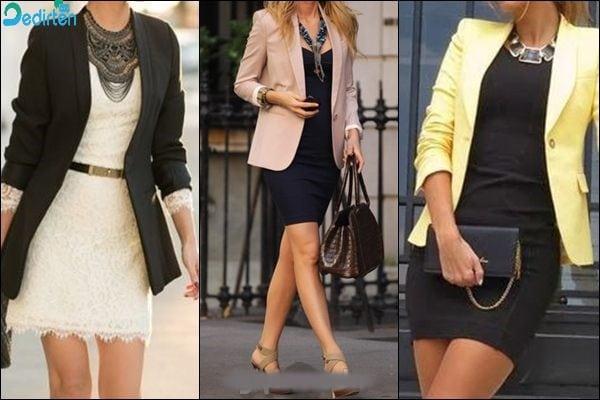 Sade Elbise ve Zıt Renklerde Blazer Kombini